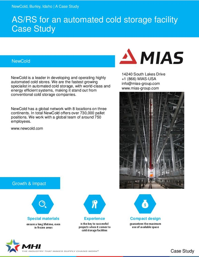 AS/RS for an automated cold storage facility Case Study
