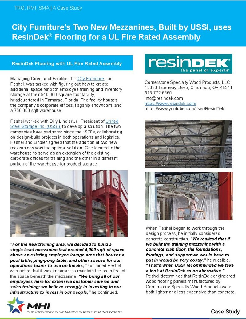 City Furniture's New Mezzanines Built by USSI uses ResinDek Flooring for a Fire Rated Assembly