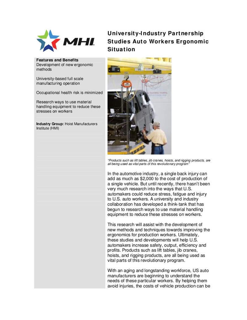 University-Industry Partnership Studies Auto Workers Ergonomic Situation