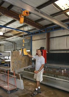 Work Station Crane Helps Protect Product And Workers In Fabricated Stone Industry