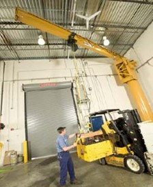 Large SPANCO Jib Crane Helps Keep Food Redistribution Forklift Fleet Running Efficiently