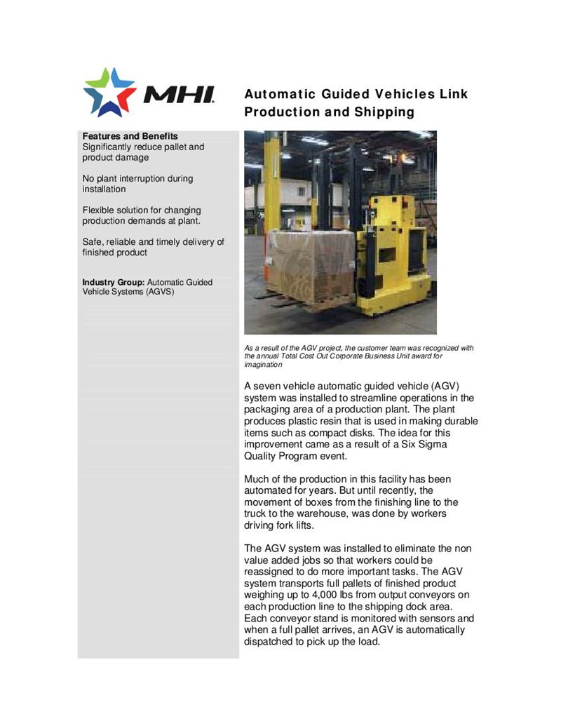 Automatic Guided Vehicles Link Production and Shipping