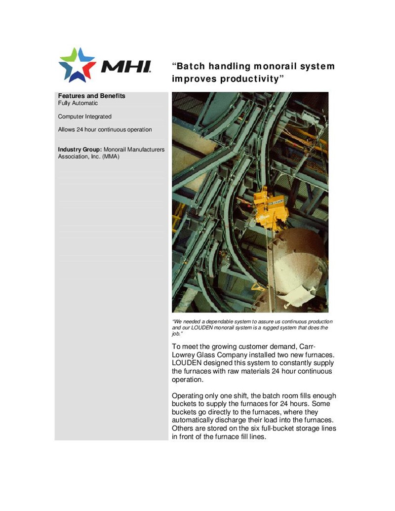 Batch Handling Monorail System Improves Productivity