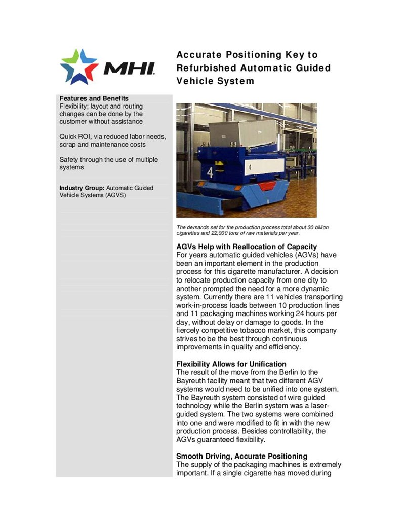 Accurate Positioning Key to Refurbished Automatic Guided Vehicle System