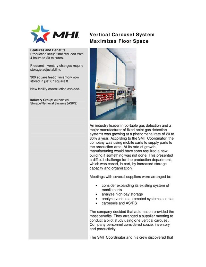Vertical Carousel System Maximizes Floor Space