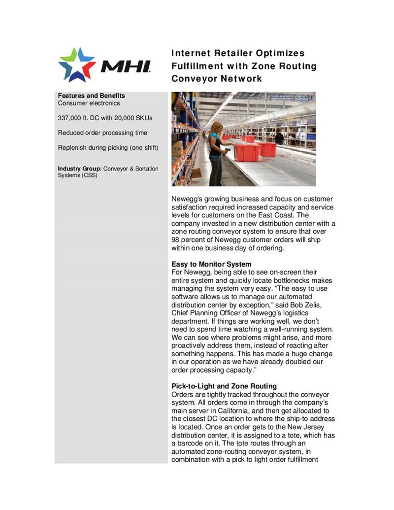 Internet Retailer Optimizes  Fulfillment with Zone Routing Conveyor Network