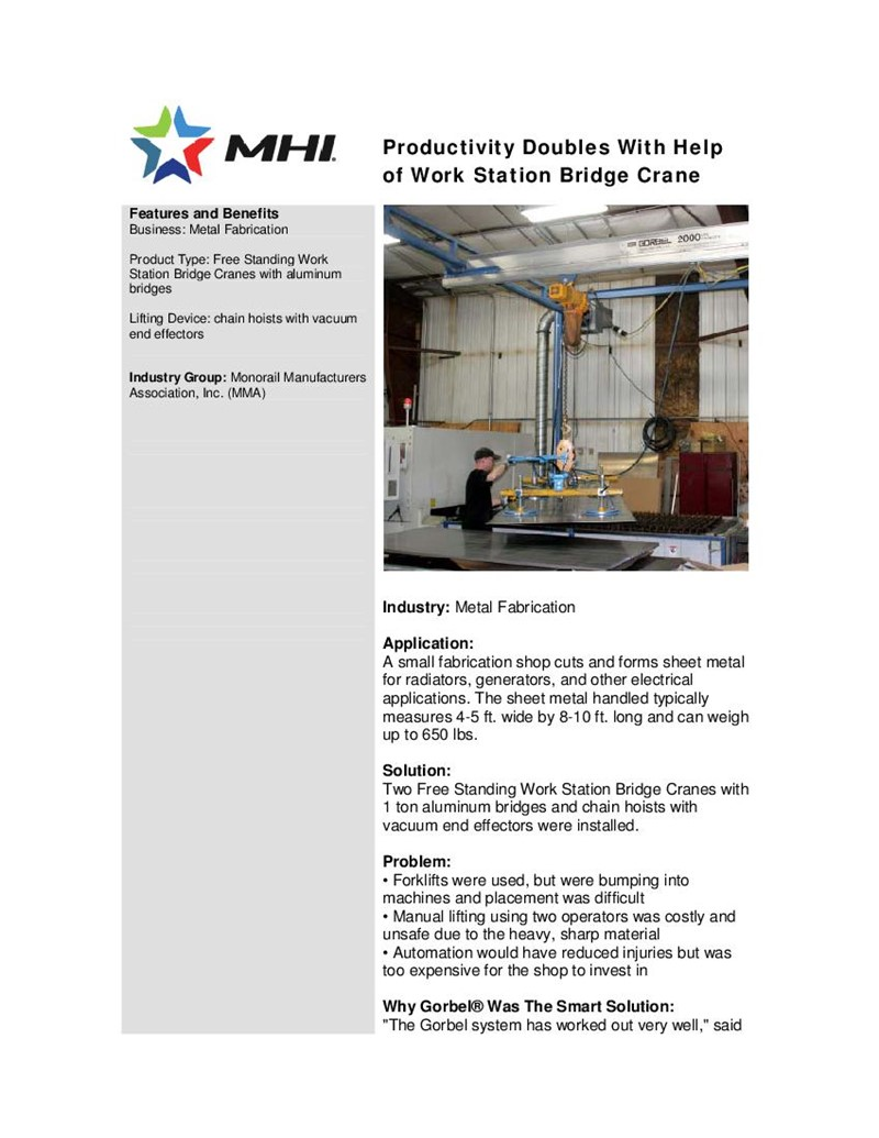 Productivity Doubles With Help of Work Station Bridge Crane