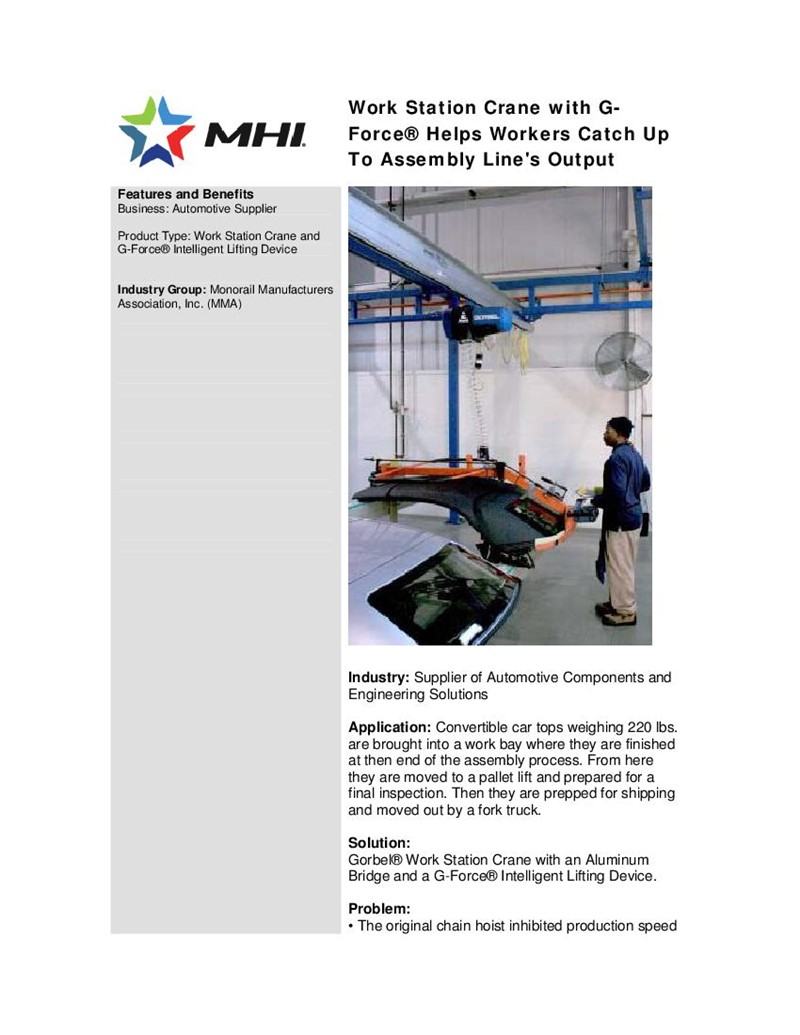 Work Station Crane with G-Force® Helps Workers Catch Up To Assembly Line's Output... To Assembly      Line's Output...