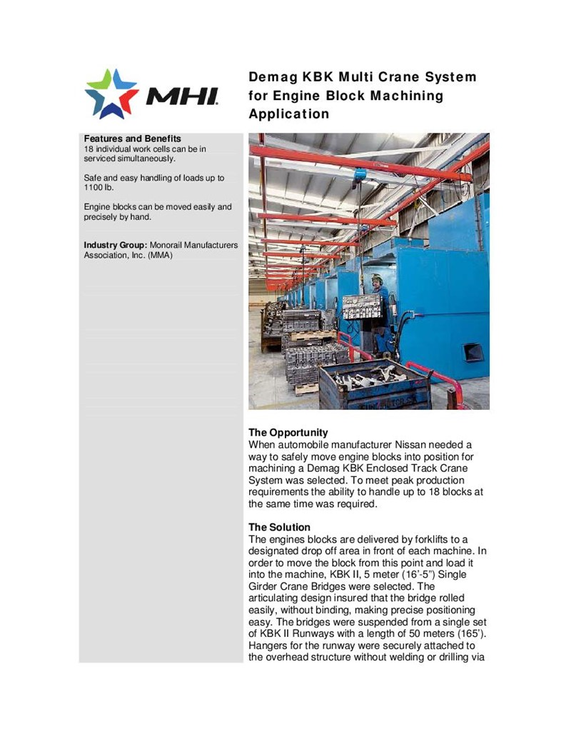 Demag KBK Multi Crane System for Engine Block Machining Application