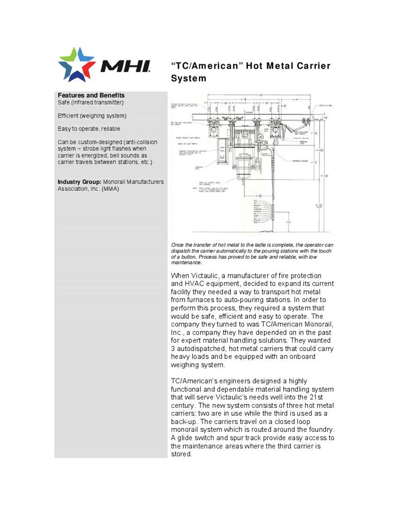 TC/American Hot Metal Carrier System Unique System Proves Best Solution