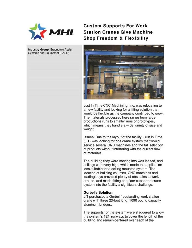 Custom Supports In Action: Custom Supports for Work Station Cranes Give Machine Shop Freedom & Flexibility