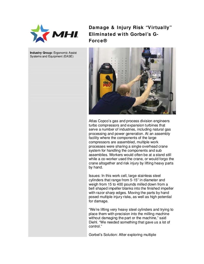 "Intelligent Lifting In Action: Damage & Injury Risk ""virtually"" Eliminated with Gorbel's G-Force"