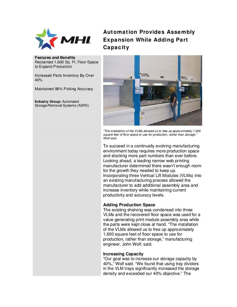 Automation Provides Assembly Expansion While Adding Part Capacity