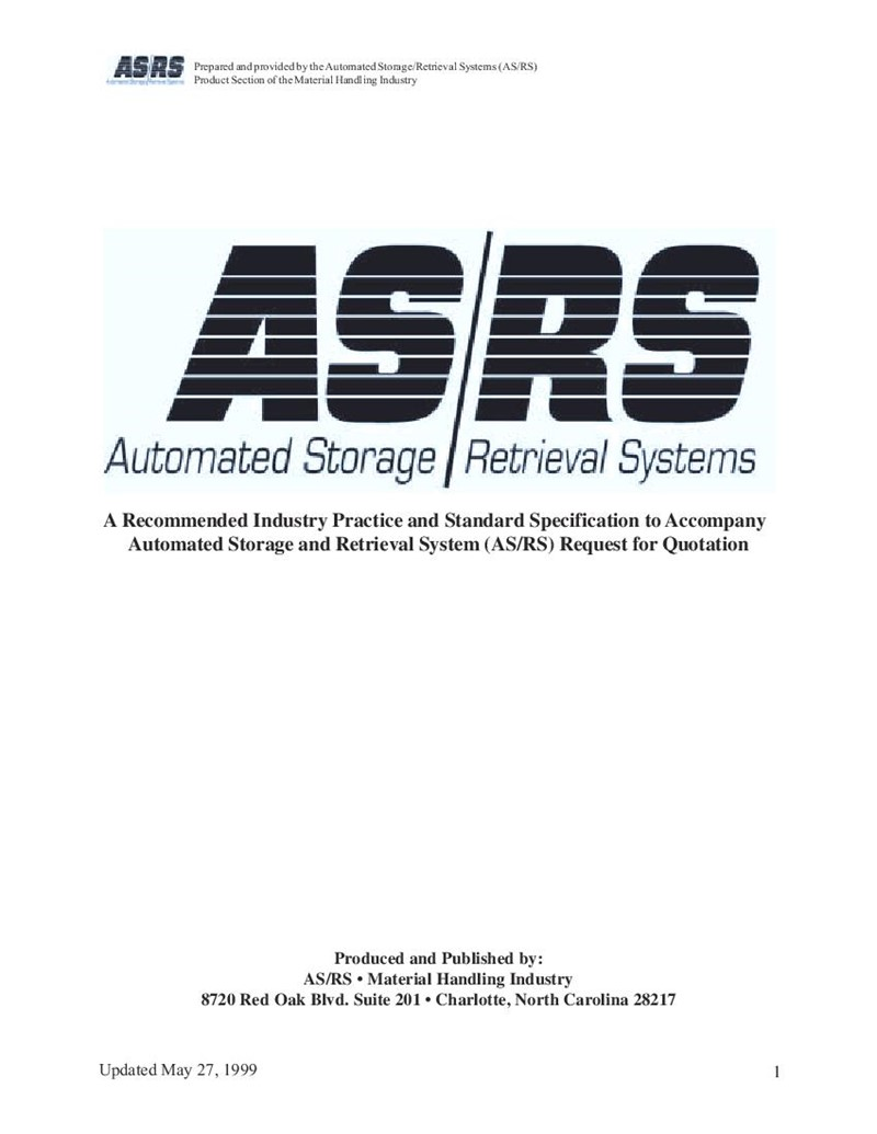 AS/RS Industry Practice and Standard