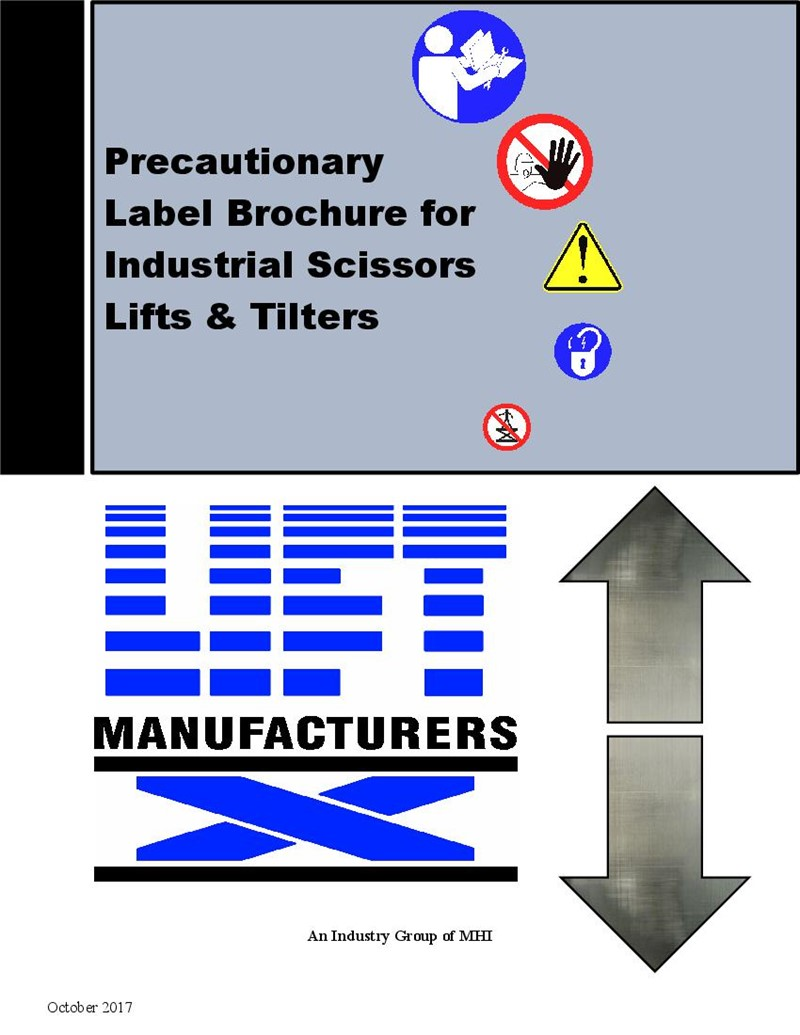 Safety Label Brochure for Industrial Scissors Lifts & Tilters