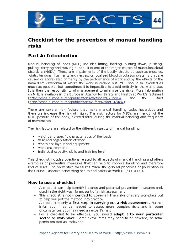 Checklist for the Prevention of Manual Handling Risks