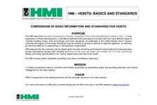 Compendium of Basic Information and Standards for Hoists