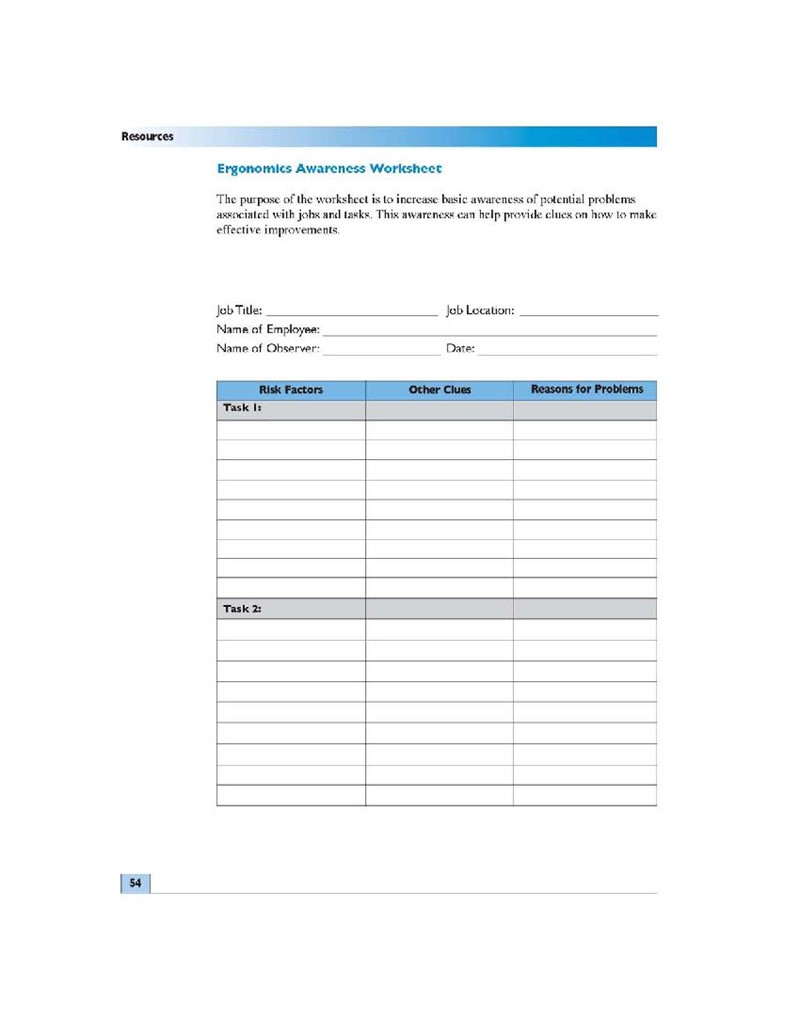 Ergonomics Awareness Worksheet