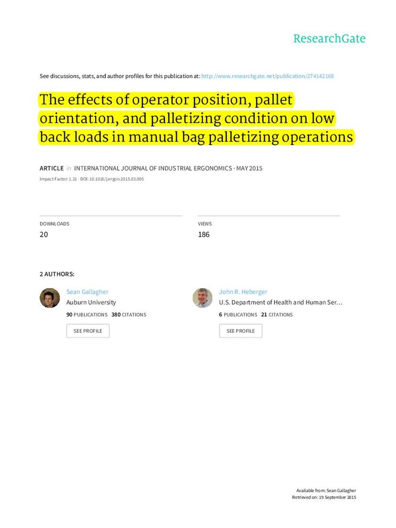 The effects of operator position, pallet orientation, and palletizing condition on low back loads in manual bag palletizing operations