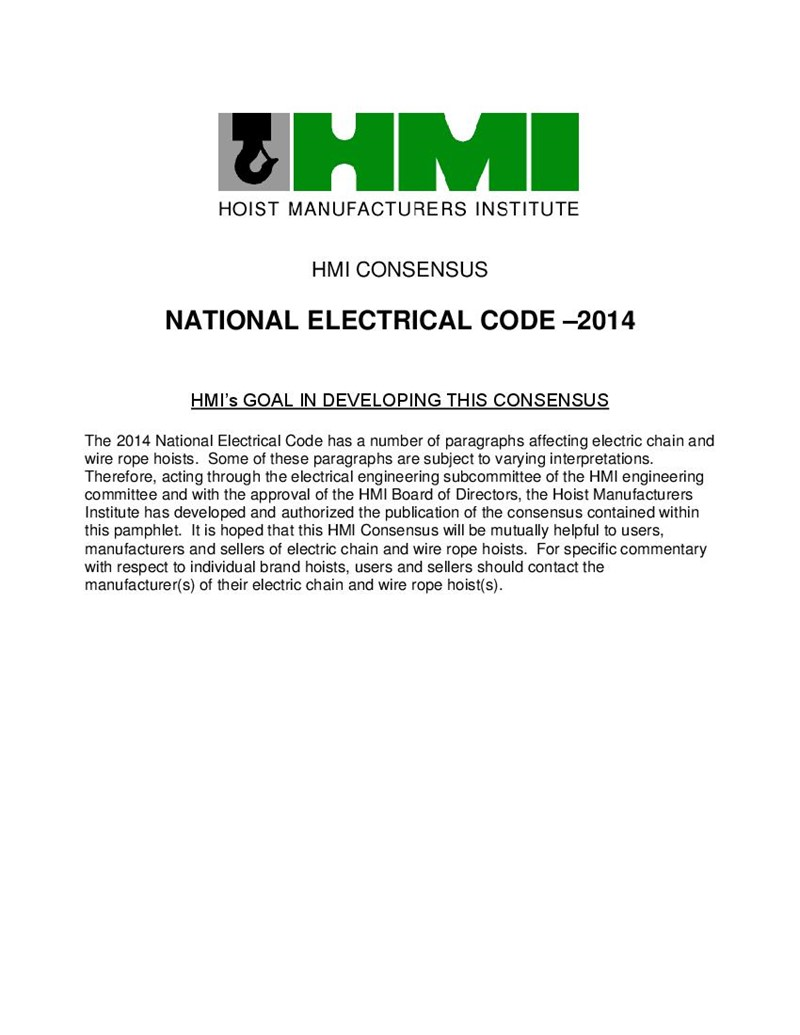 HMI Consensus of the National Electrical Code