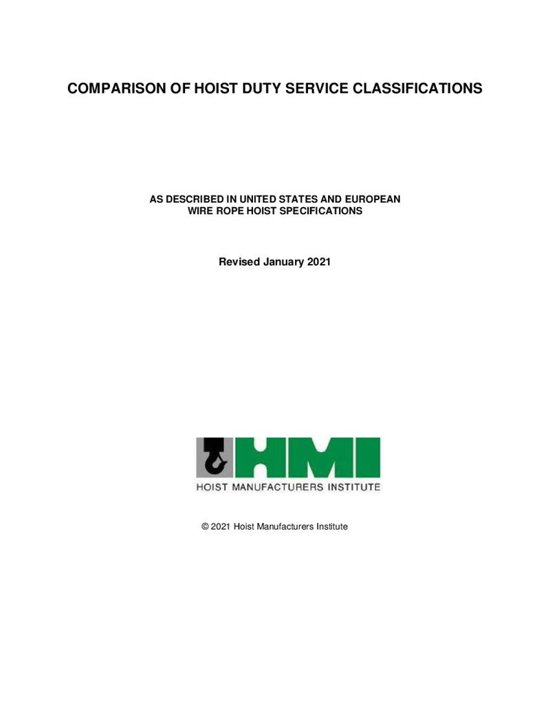 Comparison of Hoist Duty Service Classifications, as described in United States and European Wire Rope Hoist Specifications