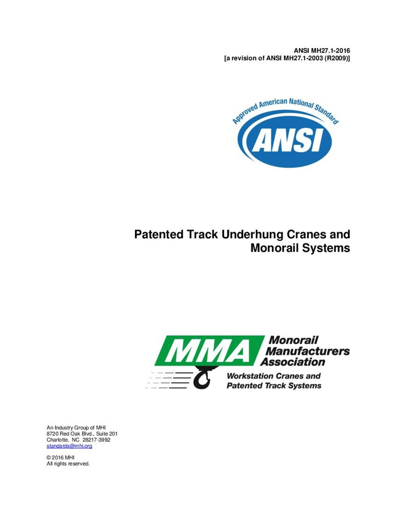 MH27.1 - 2009 - Specifications for Patented Track Underhung Cranes and Monorail Systems