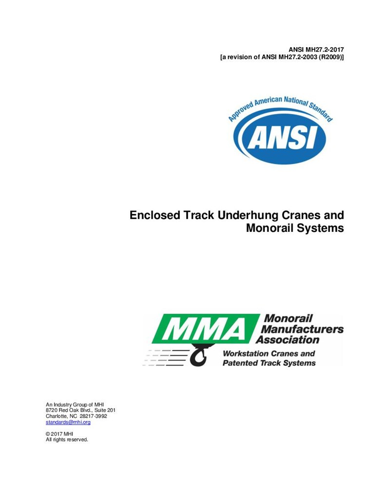 MH27.2 - 2009 - Specifications for Enclosed Track Underhung Cranes and Monorail Systems