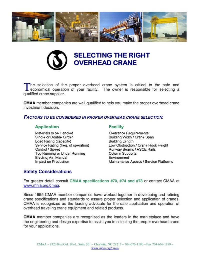 Selecting The Right Overhead Crane