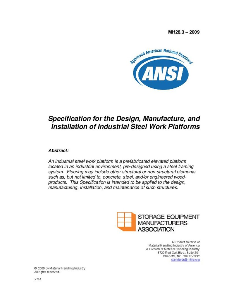 Specification for the Design, Manufacture, and Installation of Industrial Steel Work Platforms