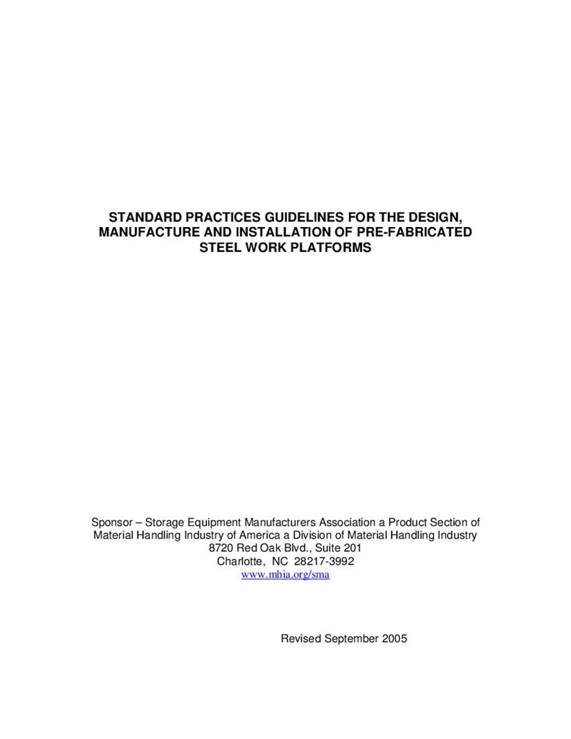 Standard Practices Guidelines for Design, Manufacture and Installation of Prefabricated Steel Work Platforms