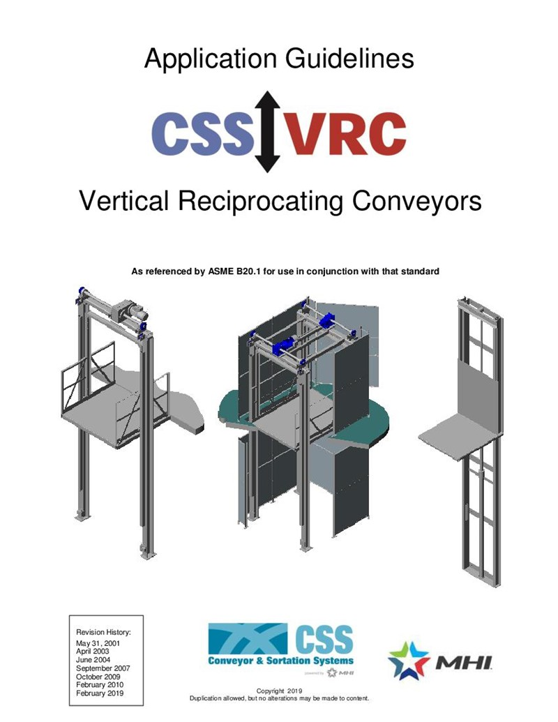 Application Guidelines for Vertical Reciprocating Conveyors