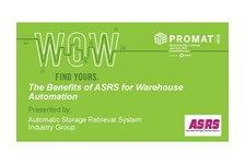 ASRS of MHI presents: Benefits of ASRS for Warehouse Automation